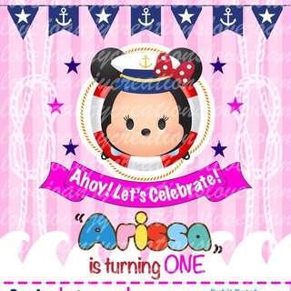 Customised Birthday e-Invitation (Minnie Tsum Tsum / Nautical)