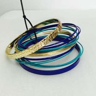NEW BRACELETS SET MIX BLUE GOLD 手環套裝