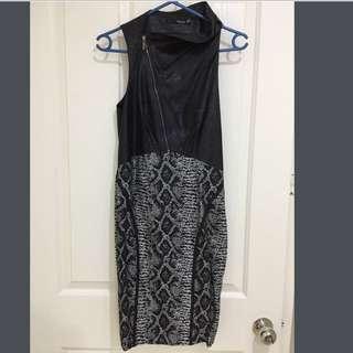 SEDUCE Ladies Black Leathery/Animal Print Dress Sz 8 - RRP $149