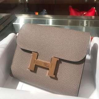Hermes Constance short wallet - Epsom GHW Gris A