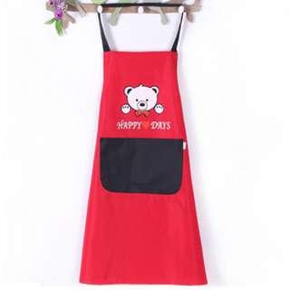 預購中~韓版吊袋防水可愛小熊圍裙 1個99元 無袖 廚房 餐廳 打掃 咖啡廳 防水防油污圍裙 工作服 ♬胖胖小屋