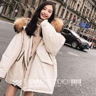 [全新]韓版白色鋪棉外套 毛毛帽