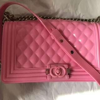 粉紅色側背袋(大size )