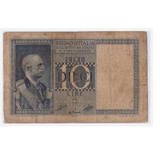 1939 Italian Ten Lire Banknote