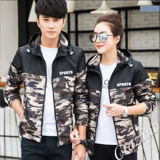 Camouflage Sports Hoodie Jacket Couple Jacket Green