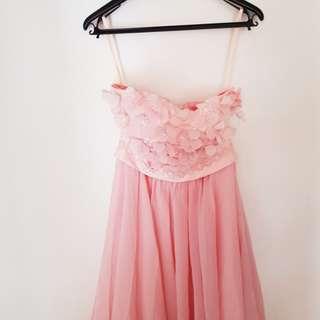 Pastel pink bride's maid dress