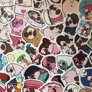 Pug matte and glossy waterproof stickers for laptop planner luggage || free normal mailing provided