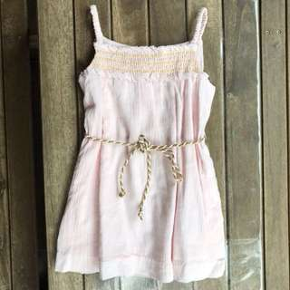 Chateau de sable pink and gold dress with sash
