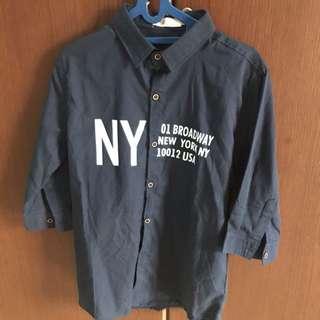 Kemeja Biru Dongker Dark Blue NY M Shirt