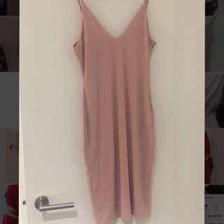 Pink/Nude bodycon midi dress Princess Polly