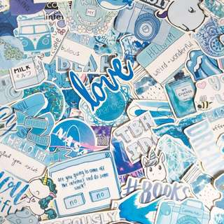 Blue tumblr matte and glossy waterproof stickers for laptop planner luggage    free normal mailing provided