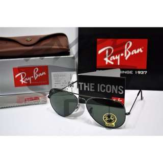 Authentic Ray Ban Aviator RB3025 W0879 Gunmetal.