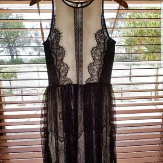 Cooper St ehite and black lace dress