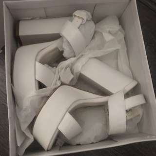 White Strappy Block Heels - Soze 8