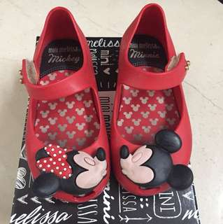 Mini Melissa Mickey Minnie Mouse red shoes size US 8