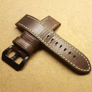 Mint 24mm/24mm Dark Brown Leather Strap w Black Buckle