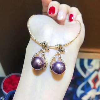 11-12MM天然濃紫愛迪生珍珠!顏色真漂亮! 18K黃金福袋吊墜~ 過年過節就得把福帶回家💰喜歡項圈的可以另配 💰💰優惠價發售,歡迎咨詢訂購😊