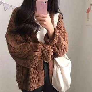 針織麻花素色毛衣外套