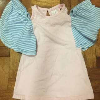 Cotton On Kids pink dress with flutter sleeves