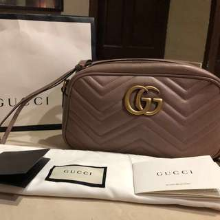 Original Gucci Marmont small matelassé shoulder or camera bag for S$1,400. (Great New Year Purchase!)