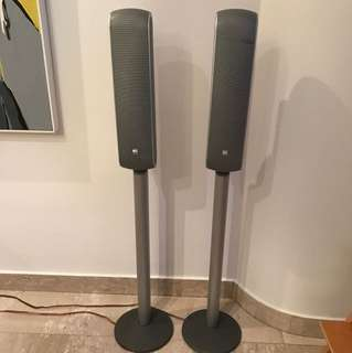 B&W (Bowers and Wilkins) VM 1 Silver Speakers with Stands