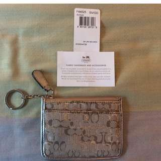 New Coach Signature Lurex Mini Skinny Card Coin Keychain Wallet GOLD