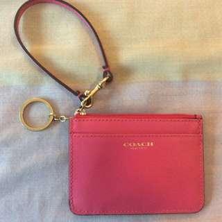New Coach Darcy Crosshatch Mini Skinny Card Coin Keychain Wristlet Wallet