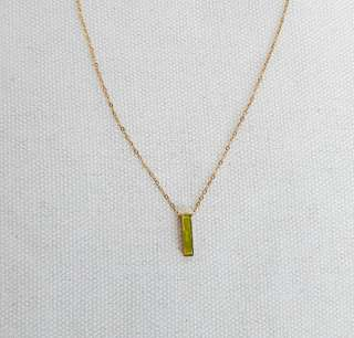 Stainless/non-tarnish rectangle pendant necklace