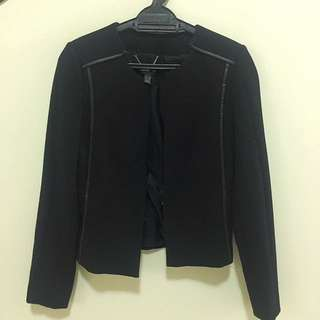 Mango Structured Coat with leather trimming