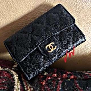 Chanel Flap Card Holder Black Caviar GHW