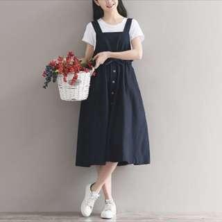 深藍 棉麻 日系 森林系 吊帶裙 連身裙