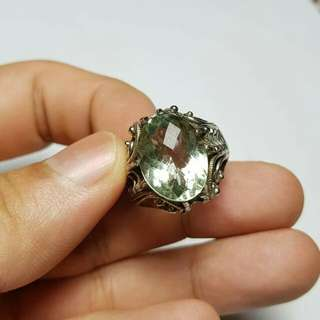 Natural Green Prasiolite Quartz Silver Ring