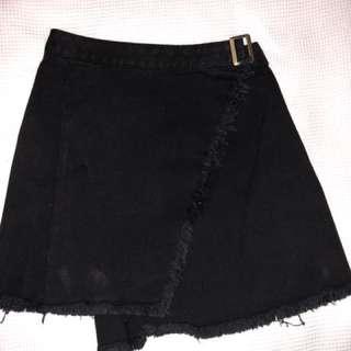 Black denim wrap skirt
