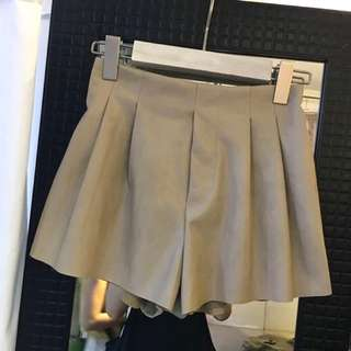 New Beige Leather Shorts