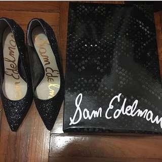 99% new Sam edlelman 三吋高藍色閃閃高跟鞋 連卡佛