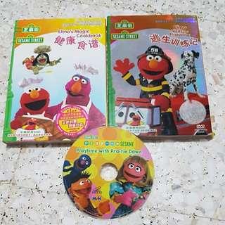Sesame street DVD 2pcs + 1 pcs w/o cover ( free)