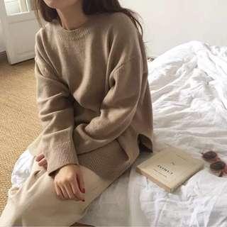 簡約側衩針織上衣