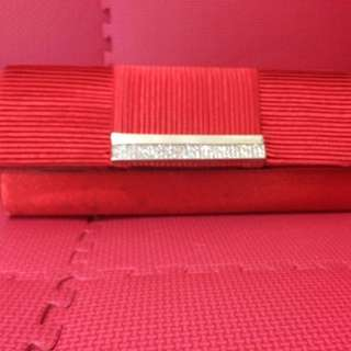 Red Satin Party Clutch