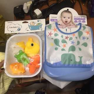 Water proof water drop bib and Cute bath toy