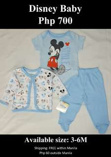 Baby Boy's Mickey Mouse 3-Piece Bodysuit, Footed Pant & Jacket Set