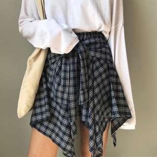 INSTOCK Checkered Tie Waist Skirt