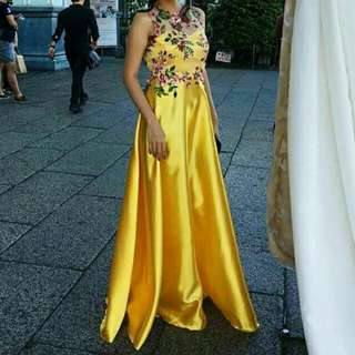 Custom made yellow embroidered gown