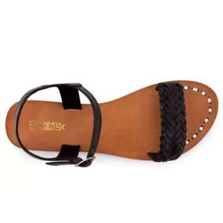Just Because Black Leather Sandals BNIB Size 5/6