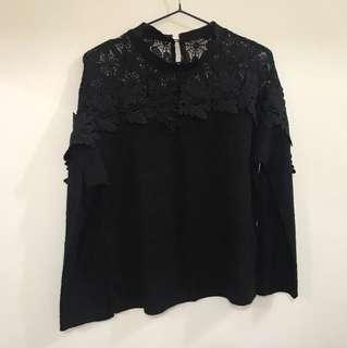 正韓—棉質上衣拼接立體蕾絲