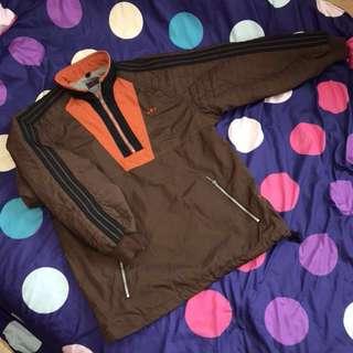 古著 老標 日本製 Adidas Originals 半拉鏈 頭套式 三線條 黑線條 菱格紋 撞色 拼接 電繡LOGO 休閒外套 運動外套