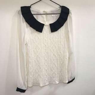 正韓—學院風針織拼接雪紡上衣
