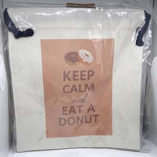 Keep Calm and Eat a Donut Drawstring Pouch