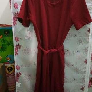 Jumpsuit maroon(tali depan)