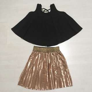 Pleated Skirt with black top
