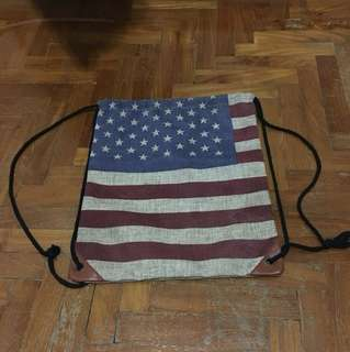 American Flag Drawstring Bag